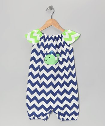 Navy & Green Zigzag Whale Romper - Infant