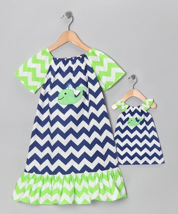Blue & Green Embroidered Dress & Doll Outfit - Infant & Toddler