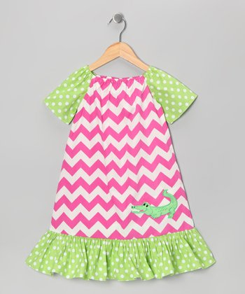 Pink Zigzag Alligator Dress - Infant, Toddler & Girls
