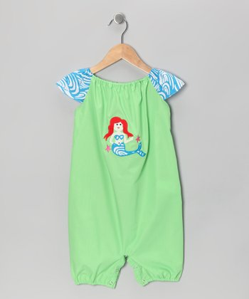 Green & Blue Wave Mermaid Romper - Infant & Toddler