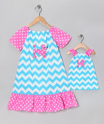 Blue & Pink Embroidered Dress & Doll Outfit - Infant & Toddler
