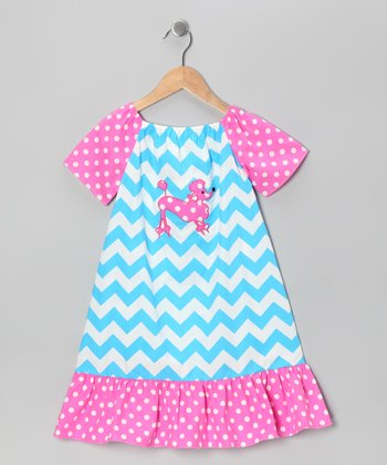 Blue & Pink Zigzag Poodle Dress - Infant
