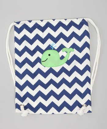 Navy Zigzag Whale Drawstring Backpack