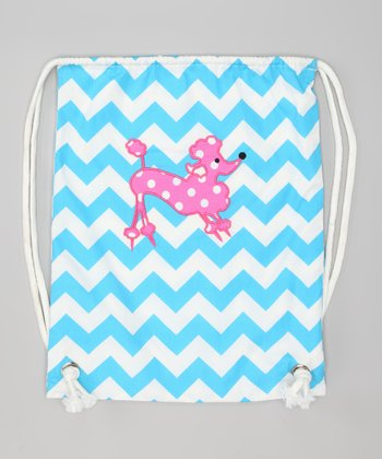 Blue Zigzag Poodle Drawstring Backpack