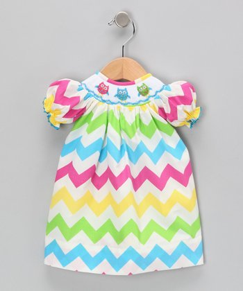 Rainbow Zigzag Doll Dress