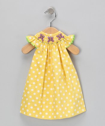 Yellow Polka Dot Doll Dress