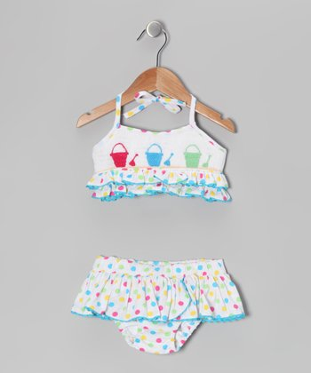 Rainbow Sand Bucket Smocked Bikini - Infant & Toddler
