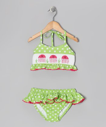 Green Jellyfish Smocked Bikini - Infant & Girls
