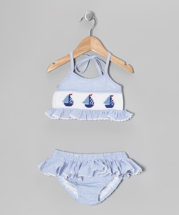 Blue Sailboat Smocked Bikini - Infant & Toddler