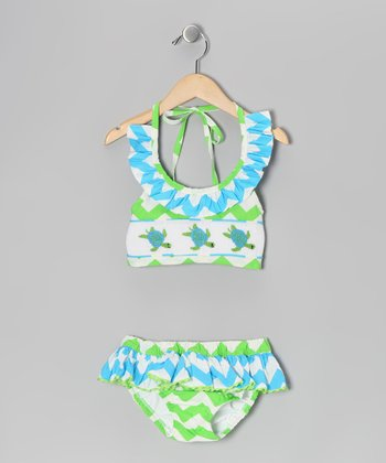 Green Turtle Smocked Bikini - Infant