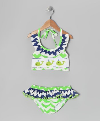 Green Whale Smocked Bikini - Infant, Toddler & Girls