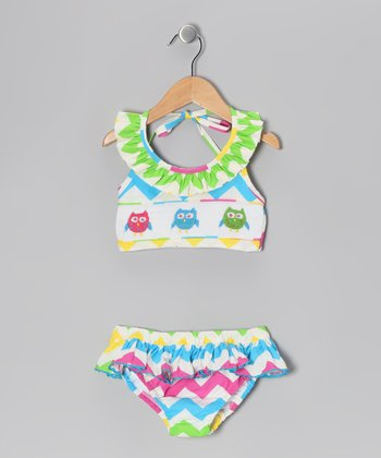 Rainbow Zigzag Owl Smocked Bikini - Infant, Toddler & Girls