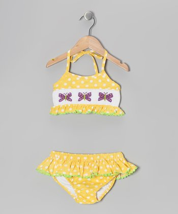 Yellow Butterfly Smocked Bikini - Infant