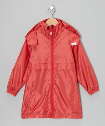 Fire Engine Red Packable Rain Jacket - Boys