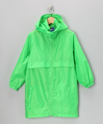 Neon Green Packable Raincoat