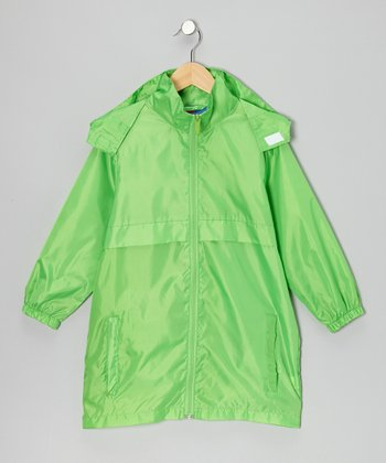 Neon Green Packable Rain Jacket - Boys