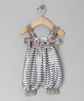 Gray Zigzag Bubble Romper - Infant, Toddler & Girls