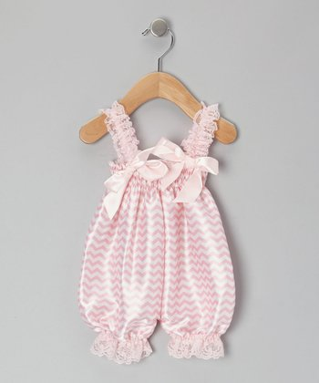 Light Pink Zigzag Bubble Romper - Infant, Toddler & Girls