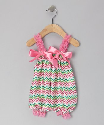 Pink & Green Zigzag Bubble Romper - Toddler & Girls