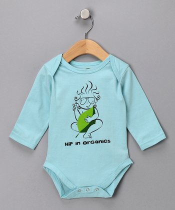 Bubble Blue 'Hip Organics' Organic Long-Sleeve Bodysuit - Infant
