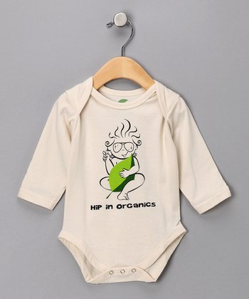 Natural 'Hip in Organics' Long-Sleeve Bodysuit - Infant