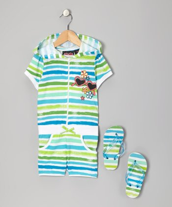 Blue Stripe Hooded Romper & Flip-Flops - Girls