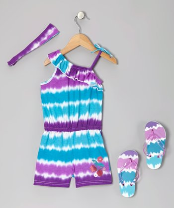 Pink & Blue Tie-Dye Romper Set - Girls