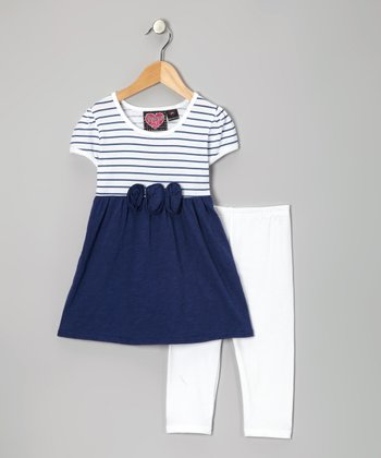 Blue Stripe Tunic & White Leggings - Toddler & Girls