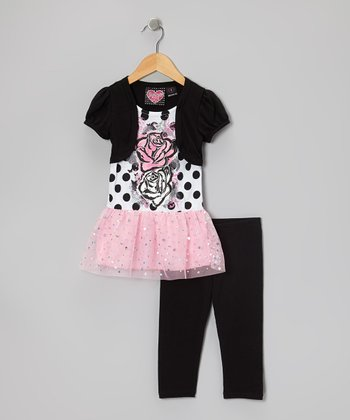 Pink Embellished Layered Top & Black Capri Leggings - Girls