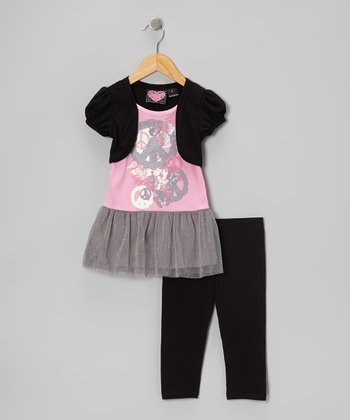 Gray Embellished Layered Top & Black Capri Leggings - Girls
