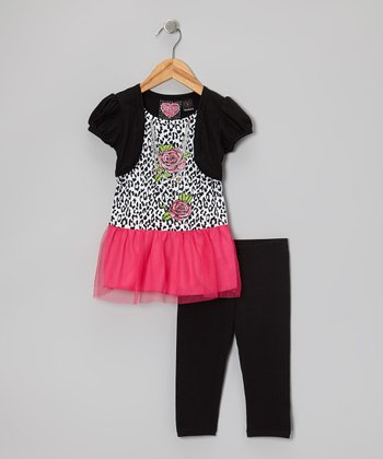 Hot Pink Embellished Layered Top & Black Capri Leggings - Toddler & Girls