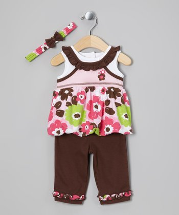 Pink & Brown Flower Top Set