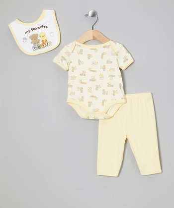 Yellow 'Favorite Toys' Bib Set