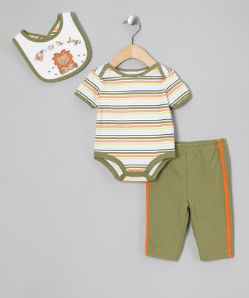 Olive 'King of the Jungle' Bib Set