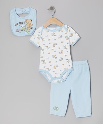 Blue Bear 'My Toys' Bib Set