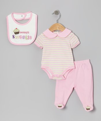 Pink 'Mommy's Sweetie' Footie Pants Set