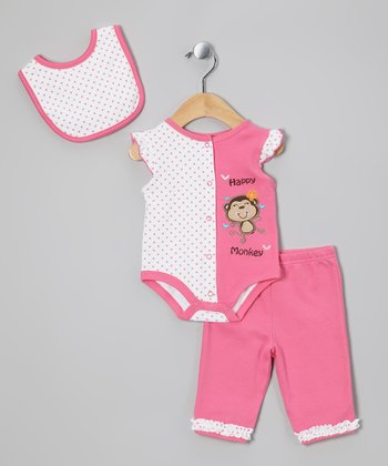 Pink Monkey Bib Set