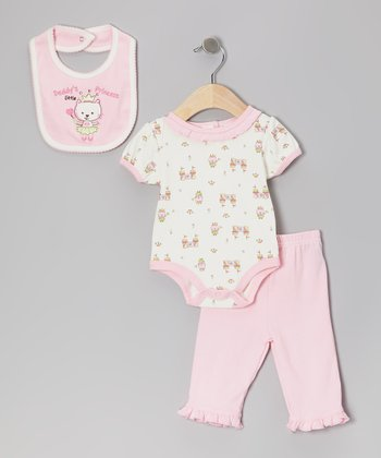 Pink 'Daddy's Little Princess' Bib Set
