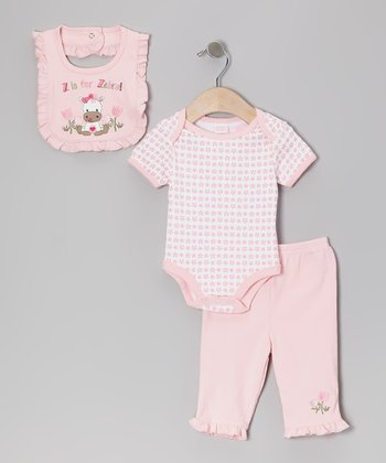 Pink Stripe 'Z Is for Zebra' Bib Set
