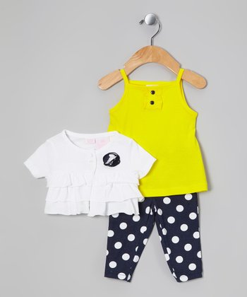 Yellow & Navy Polka Dot Layette Set