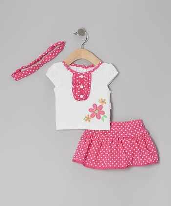 White & Pink Polka Dot Daisy Skirt Set