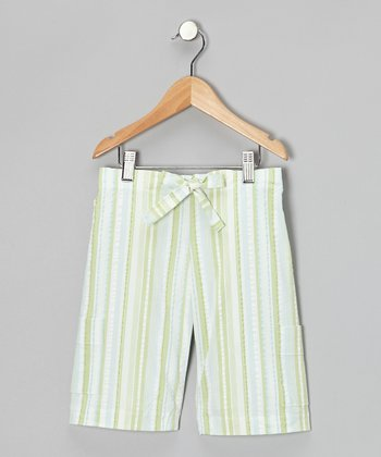 Green Stripe Shorts - Toddler & Kids
