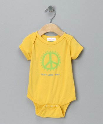 Yellow 'Peace Love Baby' Bodysuit - Infant