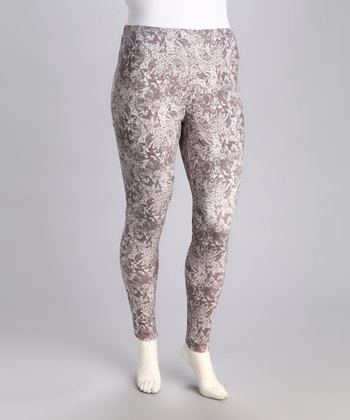 Gray & White Swirl Leggings - Plus