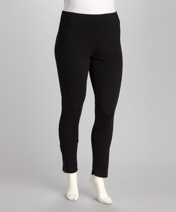 Dex Black Plus-Size Zip-Up Leggings