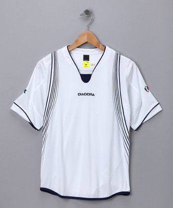 White & Navy Napoli Jersey - Kids & Men
