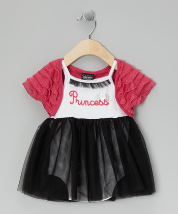 Black & Fuchsia 'Princess' Skirted Bodysuit & Shrug