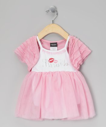 Pink & White 'Kissable' Skirted Bodysuit & Shrug