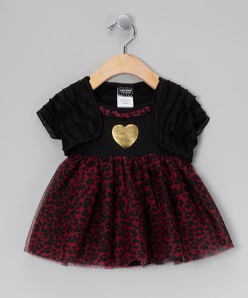Black & Purple Heart Ruffle Skirted Bodysuit & Shrug - Infant