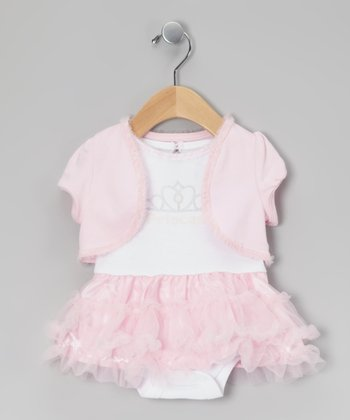 White & Pink Princess Skirted Bodysuit & Shrug